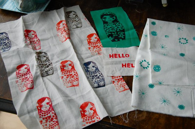 handprinted fabric swap