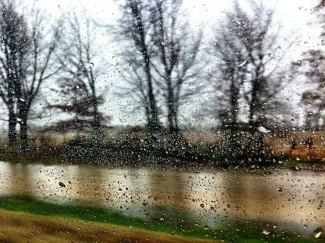 rain through the van window in Mississippi