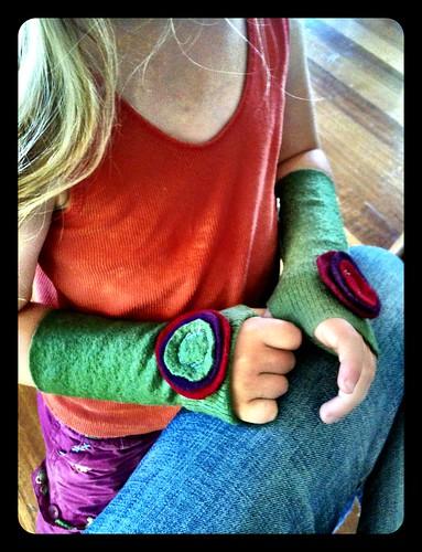 Zoe's wrist warmers...