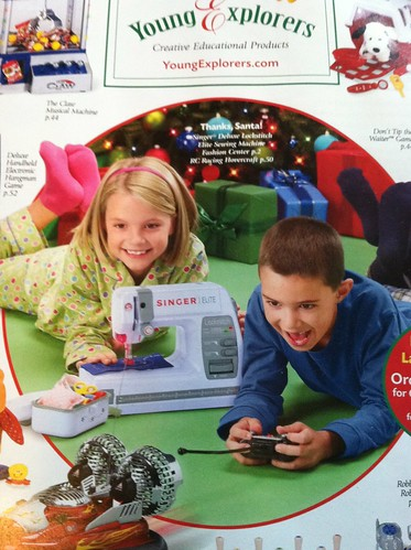 "Cover of ""Young Explorers"" toy catalog, featuring a girl playing with a sewing machine and a boy playing with a hovercraft"