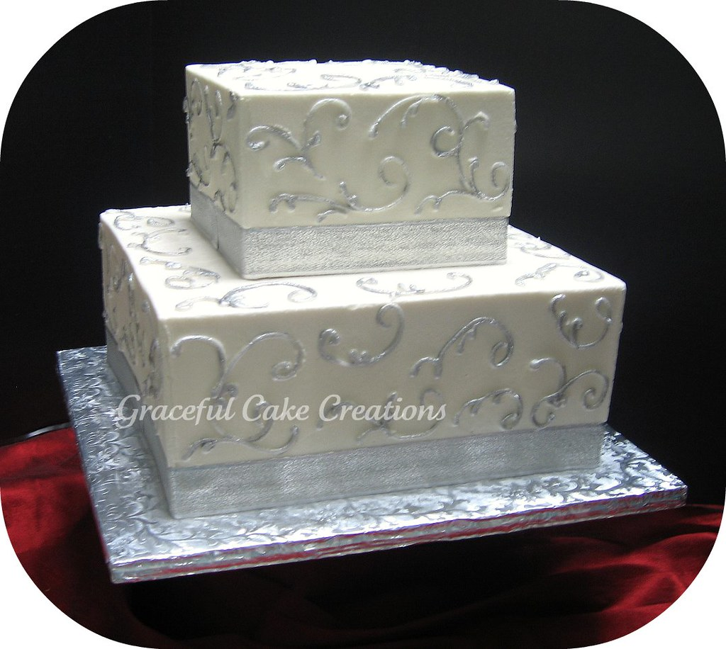 Two Tier Square White Wedding Cake with Silver Accents a