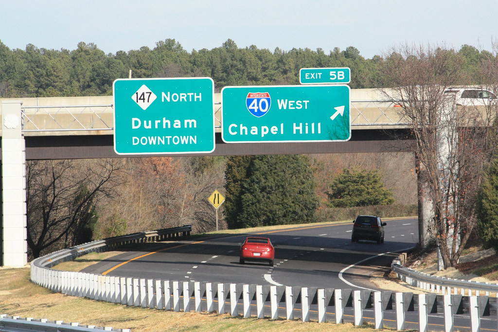 Durham Freeway Exit 5B | Overheads for I-40 West and NC 147