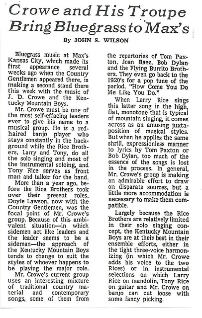 06-16-72 NYT Review - J.D. Crowe @ Max's Kansas City