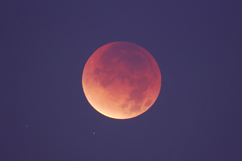 Eclipsed moon in twilight