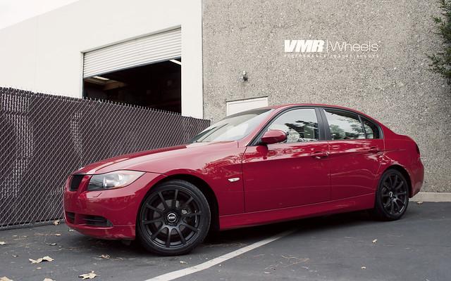 Vmr Wheels 18 Quot Matte Black V701 On Crimson Red Bmw E90
