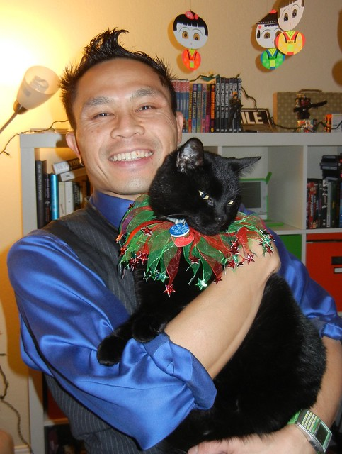 Rik with Mole the Christmas kitty