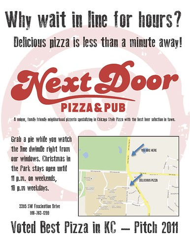 Next Door Pizza flier
