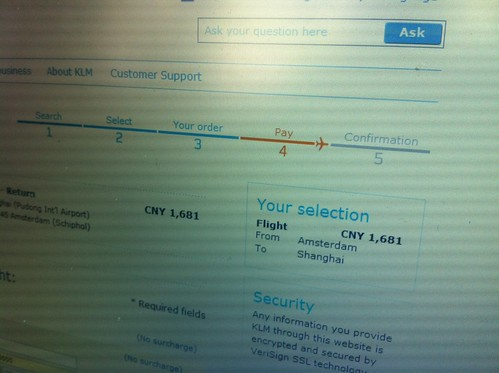 KLM gives an extremely low price for return ticket Amsterdam-Shanghai
