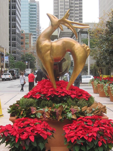 Golden Deer and Red Poinsettas