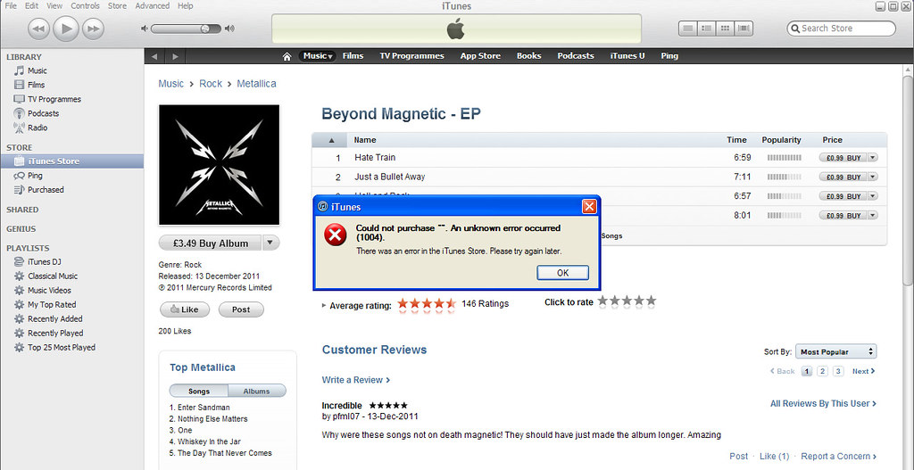 iTunes Metallica EP Error | It's after I changed my email ad