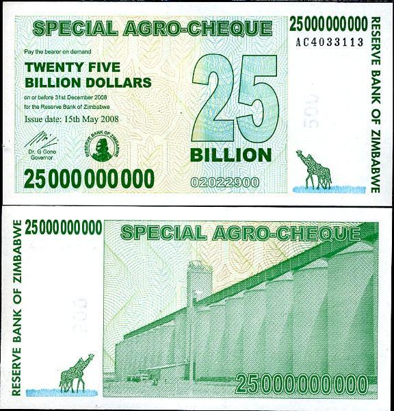 25 miliárd Dolárov Zimbabwe 2008, Pick 62