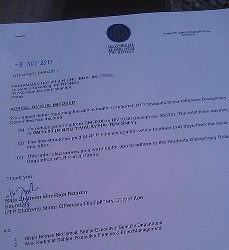 Surat Jawapan Rayuan Saman UTP