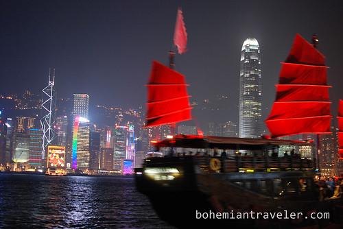 New junk and Hong Kong Skyline at night