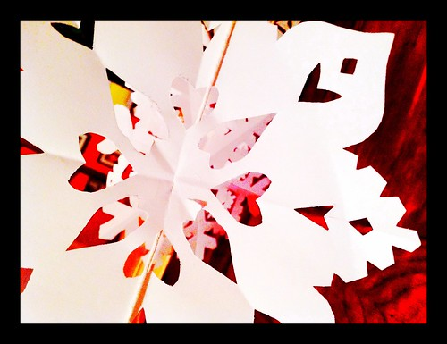 Paper snowflakes with heart - #354/365 by PJMixer