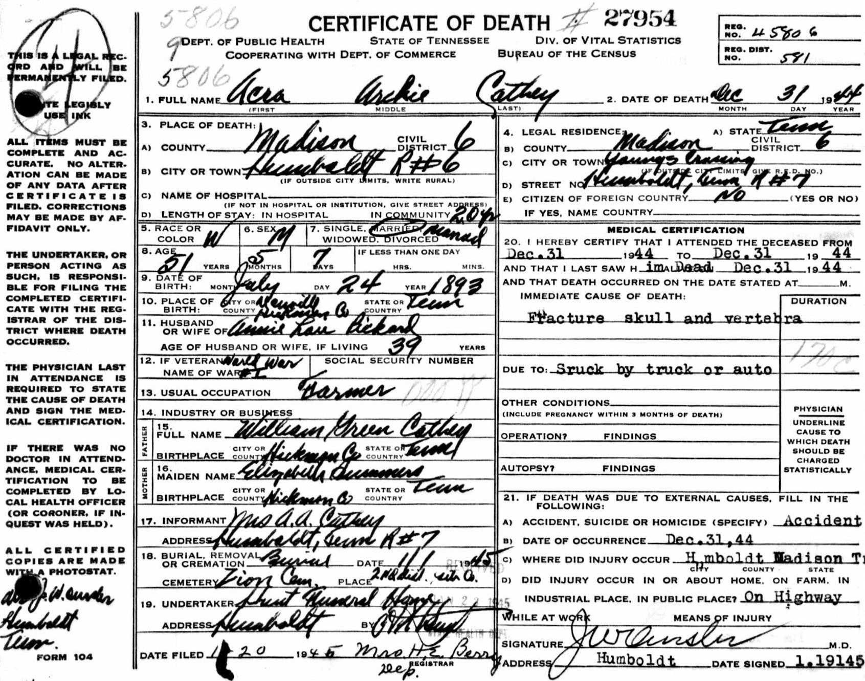 Acra Archie Cathey Death Certificate