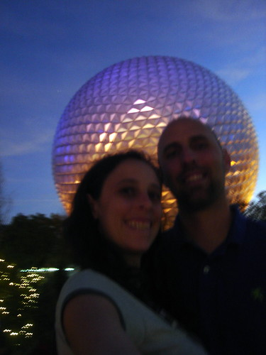 In front of the Epcot Ball