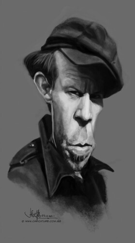 digital caricature of Tom Waits