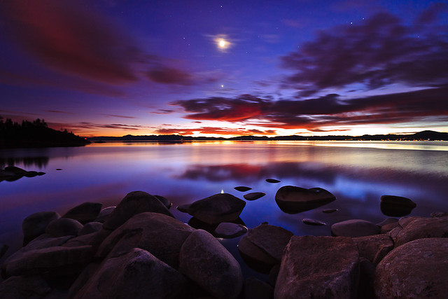 Twilight Moon and Venus over Lake Tahoe | This was taken ...