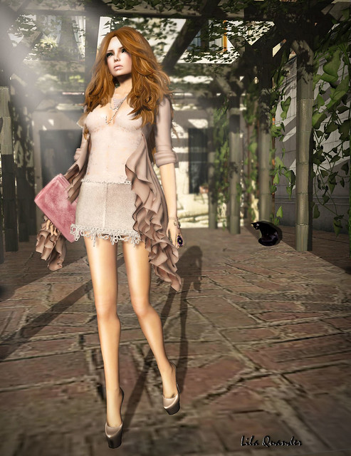 Mimikri - Charm Lace Cami - misty rose & Charm Chain Skirt - taupe