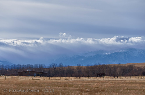 Low winter sky with clouds over the mountains... scenic Montana!