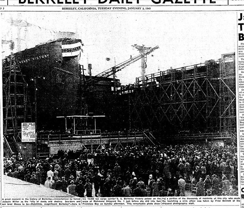An estimated 10,000 people, most of them from Berkeley, attended the New Year's launching of the SS Berkeley Victory in 1945.