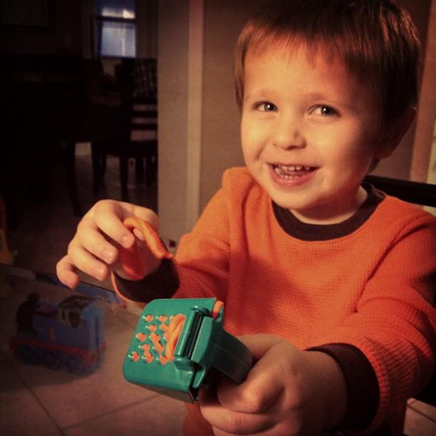 He looooves play-doh!