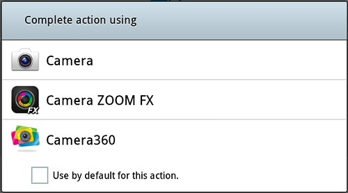 select default camera in android