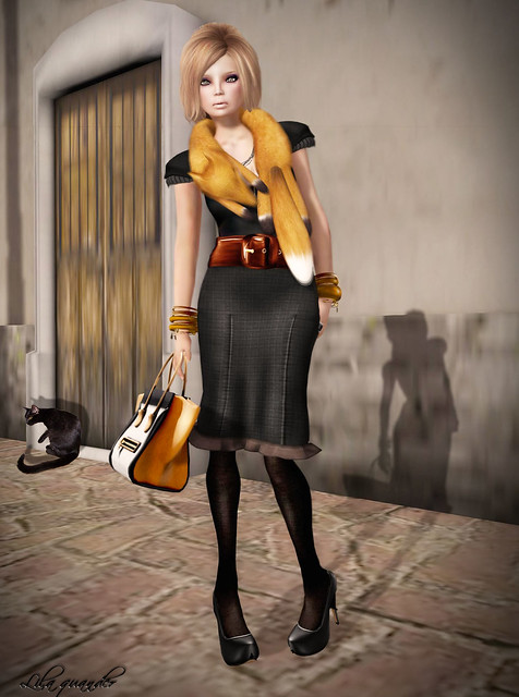 C88 Dec - Aura - Bullet Proof - Ruffled Pencil Skirt (MESH) & Ohmai for Collabor88 - A Lil' Foxy (Red Fox)