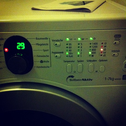 This AAA washing machine is lit up like a Christmas tree.