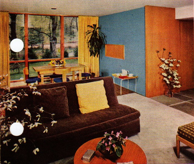 Mid Century Modern Using Paint To Define A Living Area