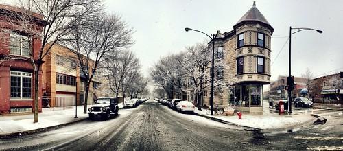 A snowy street scene by photographer Joshua Mellin.