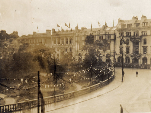 Union Terrace, Aberdeen, Scotland. Decorated with flags for the royal visit on 27th September 1906.