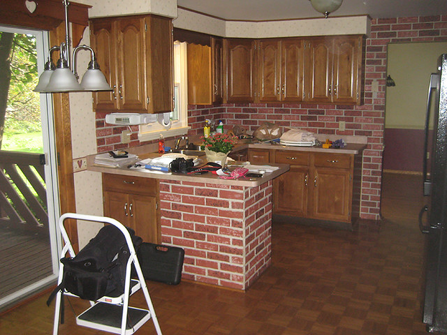 Kitchen z brick backsplash countertop reno questions pics for Kitchen units made of bricks