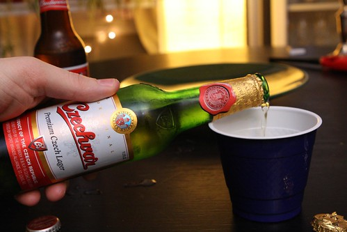 Pouring Budweiser Budvar (Czechvar) For Blind Tasting