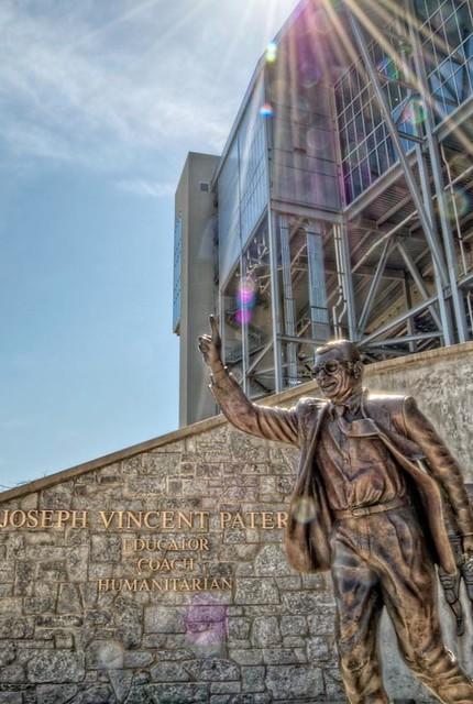 Sunflare over Joe Paterno Statue HDR