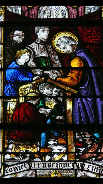 St. Leufroy teaching 19th century stained glass