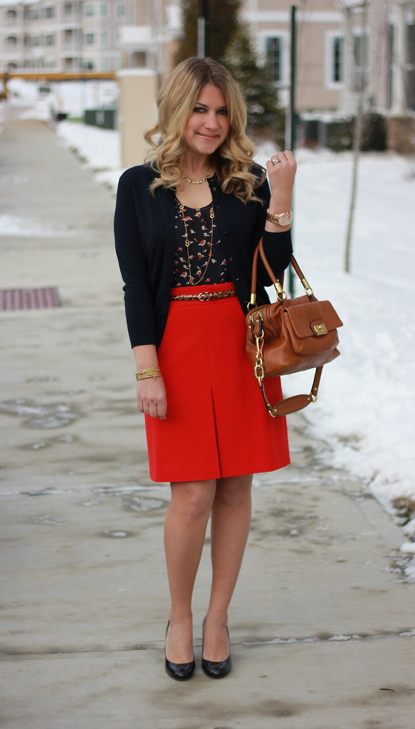 Red and Navy Teacher Outfit Idea