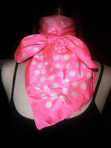Vintage Scarf by Echo Pink With White Polka Dots Pure Silk by Brick City Vintage