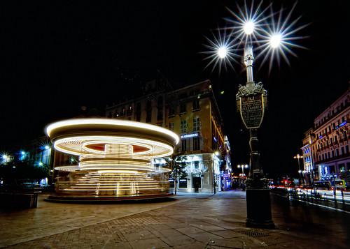 city longexposure urban france night stars marseille lowlight raw empty tripod lighttrails carrousel 2012 3exp cs5 byopheliaphotos