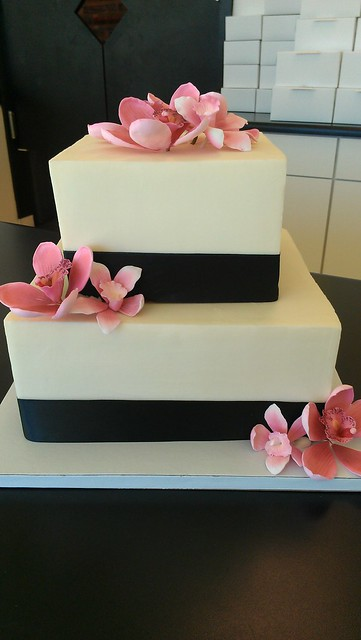 Two Tier Square Black Ribbon With Edible Flowers Wedding