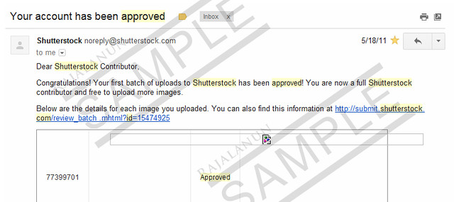 Shutterstock Account Approved Email!