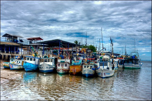 Busy boat dock in Puntarenas, Costa Rica