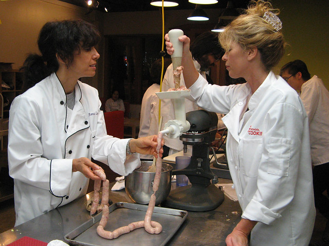 Cathy and Rona making sausage