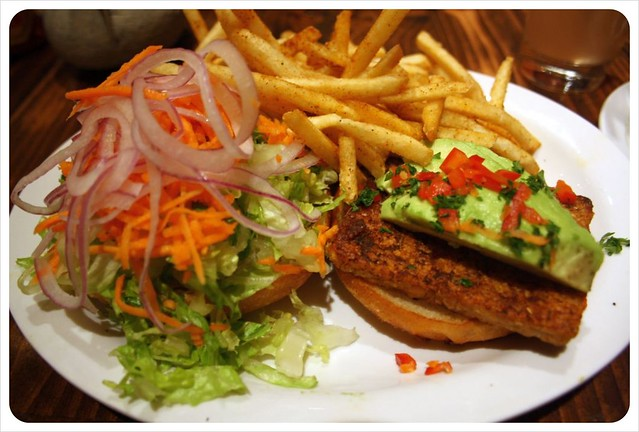 native foods cafe vegan burger with fries
