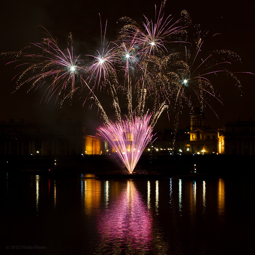 Greenwich fireworks on the River Thames celebrate 2012 Royal Borough status