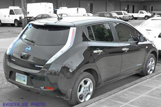 Rear of a Nissan Leaf...