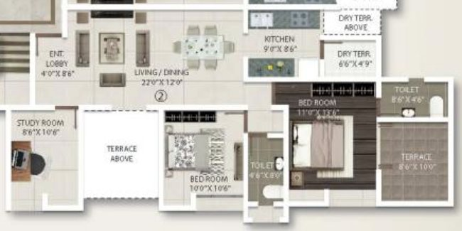 2.5 BHK Flat - 855 sq.ft. Carpet + Terrace - A Building - Even Floors - Gini Viviana, Balewadi, Pune 411 045