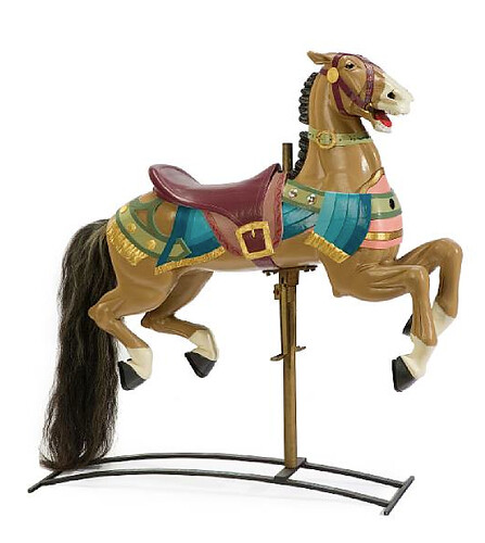 Carved and painted carousel figure of a horse Stein & Goldstein, Brookly, lot 7248