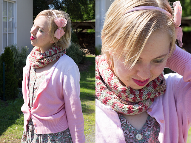pink ombre cardigan, red and green knitted infinity scarf, pastel bow headband