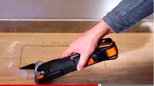 The WORX 20v Sonicrafter features vibration reduction (Click on image to watch video)